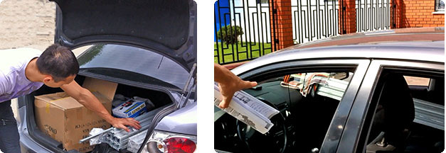 Все детали помещаются в багажник легкового автомобиля, поэтому услуги грузового такси не потребуются.
